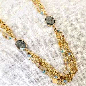 LOFT Long Multi Strand Crystal Beaded Necklace NWT